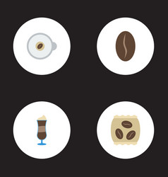 Flat icons arabica bean package latte cappuccino vector