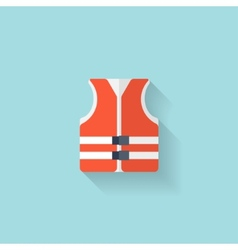 Flat lifejacket web iconBackground wit vector