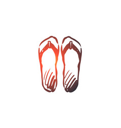 flip-flops shoes footwear summer beach concept vector image