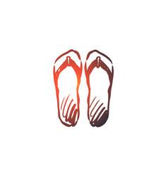 Flip-flops shoes footwear summer beach concept vector