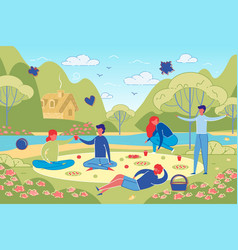 friends and couples on picnic at park or forest vector image