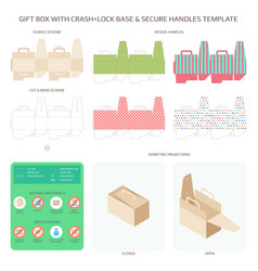 gift box with safe bottom and handles templates vector image