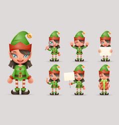 girl cute elf christmas santa teen icons new year vector image