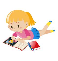 Girl reading books alone vector