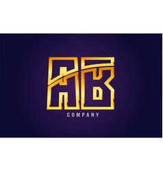Gold golden alphabet letter ab a b logo vector