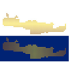Golden abstract crete island map vector