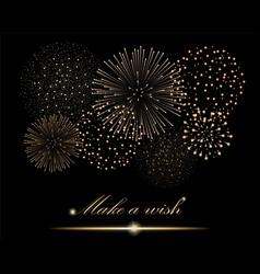 Golden firework show on black background make a vector
