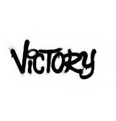 Graffiti victory word sprayed in black over white vector