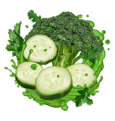 Green juice splash with broccoli and cucumber vector