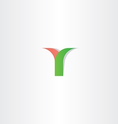 Green red letter y logotype logo design vector