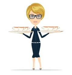 Happy Smiling Female Chief Cook Waiter vector