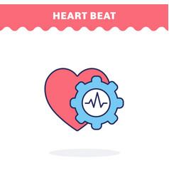 heart beat icon flat design ui icon vector image