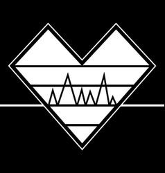 Heartbeat emblem graphic vector