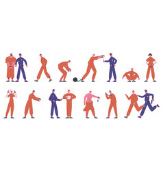 inmates characters prisoners in prison uniform vector image
