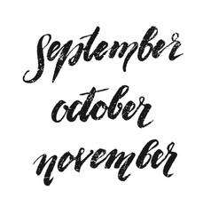 inscriptions autumn september october november vector image