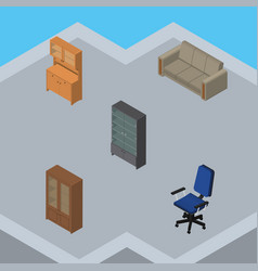 Isometric furnishing set of cupboard office vector