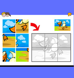 Jigsaw puzzles with duck bird farm animal vector