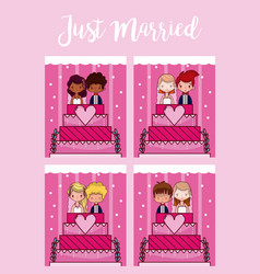 just married cute card vector image