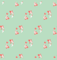 Koi fish seamless background on mint background vector