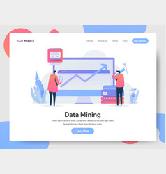 landing page template data mining concept vector image