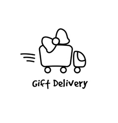 line style gifts express delivery logotype vector image