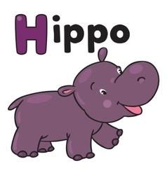 Little funny hippo for ABC Alphabet H vector