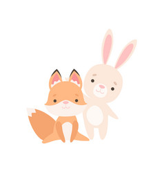 Lovely white little bunny and fox cub are best vector