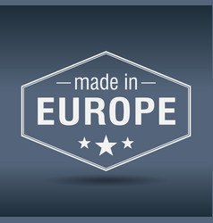 made in europe hexagonal white vintage label vector image