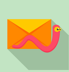 Mail virus worm icon flat style vector