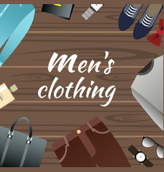 men s clothing and accessories on wooden vector image