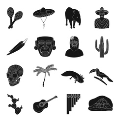 Mexico country set icons in black style big vector