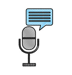 Microphone communication with speech bubble vector