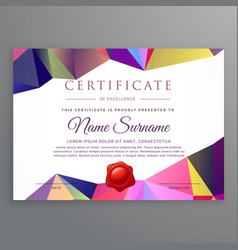 Modern low poly funky certificate design template vector