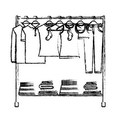 monochrome blurred silhouette of clothes rack with vector image