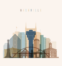 nashville state tennessee skyline detailed silhoue vector image