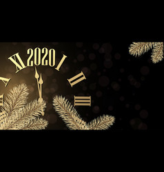 New year 2020 shiny poster with golden clock vector