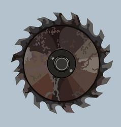 Old rusty iron saw blade for circular saw vector