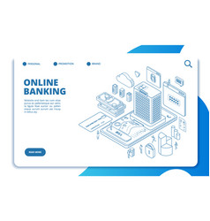 online banking isometric landing page money vector image