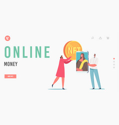 Online money landing page template tiny female vector