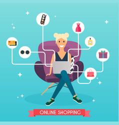 Online shopping concept girl do shopping from vector