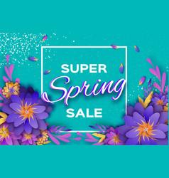 Origami violet super spring sale flowers banner vector