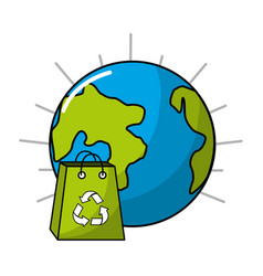 Planet and bag to recycle environment icon vector