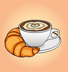 pop art background breakfast coffee with cream vector image