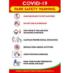 Public park rules poster or public health practice vector