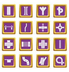 road parts constructor icons set purple square vector image