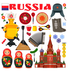 Russia famous items icons vector