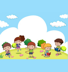scene with many kids doing different activities vector image vector image
