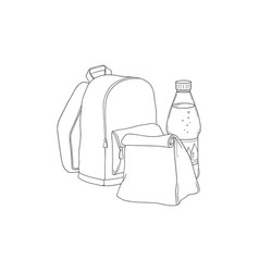 school backpack with paper lunch bag and bottle of vector image