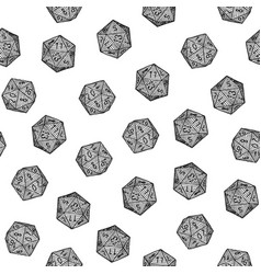 Seamless hand-drawn monochrome d20 pattern vector