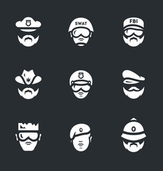 set of police people icons vector image
